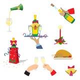 被设置的圣诞节图标 香宾,圣诞节土耳其,礼物,响铃,蜡烛 外籍动画片猫逃脱例证屋顶向量 库存例证