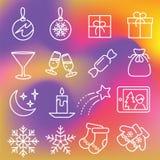 被设置的圣诞节图标 库存图片
