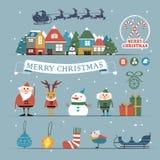 被设置的圣诞节字符和装饰 免版税库存照片