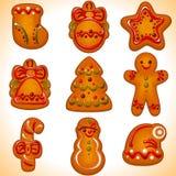 被设置的圣诞节曲奇饼 免版税库存照片