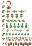 被设置的圣诞节编号 库存例证