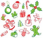被设置的圣诞节装饰 向量例证