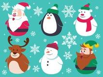 被设置的圣诞节逗人喜爱的平的字符 免版税库存照片