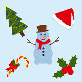 被设置的圣诞节项目 免版税库存照片
