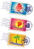 被设置的地标邮票 免版税库存图片
