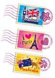 被设置的地标邮票 免版税图库摄影