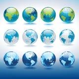 被设置的地球图标 库存图片