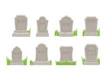 被设置的墓碑 老坟茔收藏 古老裂口 在丝毫的坟墓 免版税库存照片