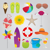 被设置的夏天和旅行象 免版税库存图片