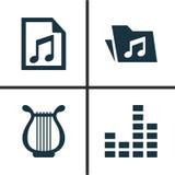 被设置的多媒体象 人事档案、文件、里拉琴和其他元素的汇集 并且包括标志例如里拉琴,音乐 库存例证