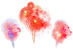 被设置的多色烟花-美丽的五颜六色的烟花孤立 免版税库存照片