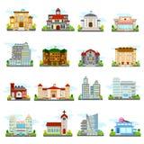 被设置的大厦图标 免版税库存图片