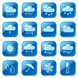 被设置的天气蓝色图标 库存图片