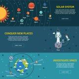 被设置的太阳系平的横幅 免版税库存图片