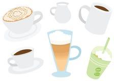 被设置的套凉快的各种各样的咖啡饮料 库存例证