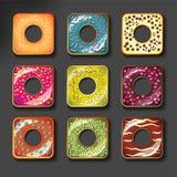 被设置的套逗人喜爱的甜五颜六色的油炸圈饼 图库摄影