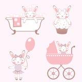 被设置的婴孩兔宝宝 免版税库存照片