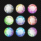 被设置的宝石 金刚石集合 库存例证