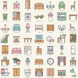 被设置的室家具线性颜色象 免版税库存照片
