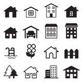 被设置的家庭图标 免版税库存照片