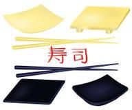 被设置的寿司板材和筷子 向量例证