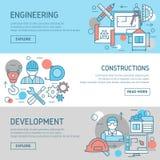 被设置的工程学和建筑横幅 向量例证