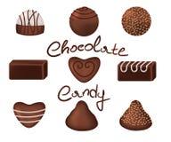 被设置的巧克力糖 免版税库存图片