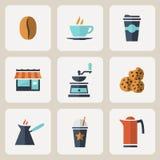 被设置的平的设计咖啡象 免版税库存照片