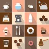 被设置的平的设计咖啡象 图库摄影