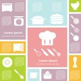 被设置的平的设计接口厨房象 免版税库存照片