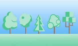 被设置的平的设计树 免版税库存图片