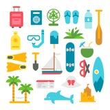 被设置的平的设计海滩项目 库存照片