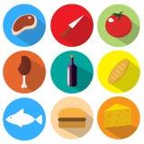 被设置的快餐五颜六色的平的设计象 免版税库存照片