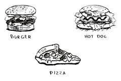 被设置的快餐图画 皇族释放例证