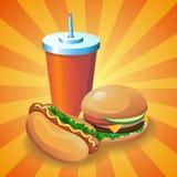 被设置的快餐:热狗,汉堡,可乐 皇族释放例证