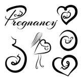 被设置的怀孕商标 免版税库存图片
