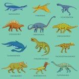 被设置的恐龙,侏罗纪动物 史前爬行动物,被刻记的手拉的葡萄酒剪影 图表汇集 库存例证