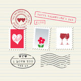 被设置的情人节邮票 库存照片