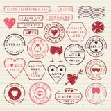 被设置的情人节邮票 免版税库存照片
