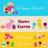 被设置的愉快的复活节五颜六色的横幅 图库摄影