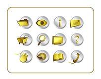 被设置的截去的金黄图标路径 图库摄影