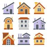 被设置的房子 平的样式设计 向量 库存图片