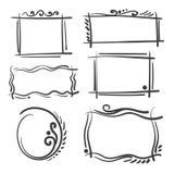被设置的手拉的框架 动画片传染媒介正方形和圆的边界 铅笔作用形状 免版税库存图片