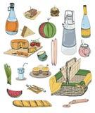 被设置的手拉的野餐项目 汇集用各种各样的食物,饮料,篮子例证 库存照片