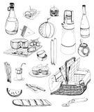 被设置的手拉的野餐项目 汇集用各种各样的食物,饮料,篮子 背景等高夫妇重点例证亲吻的爱 免版税图库摄影