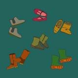 被设置的手拉的颜色鞋子-传染媒介例证 免版税库存图片