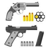 被设置的手枪 左轮手枪、左轮手枪s桶和子弹 库存图片