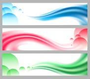被设置的抽象光滑的波浪倒栽跳水或横幅 免版税库存图片