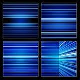 被设置的抽象减速火箭的蓝色镶边五颜六色的背景 免版税库存图片