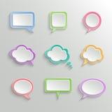 被设置的抽象白色讲话泡影 库存照片